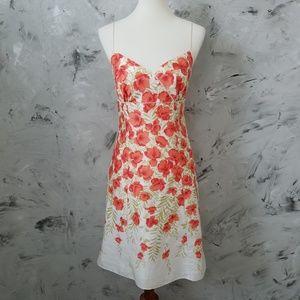 ANN TAYLOR Red & Orange Floral Summer Jumper Dress